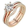 EDI Романтический Свадебный набор Муассанит Кольцо С Бриллиантом 14 К 585 Розовое Золото Лаборатория Grown Бриллиантовое Кольцо Для Женщин Свадьба Обручальное ювелирные изделия