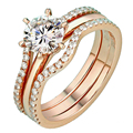 EDI Romantic Bridal Sets Moissanite Diamond Ring 14k 585 Rose Gold Lab Grown Diamond Ring For Women Wedding Engagement Jewelry