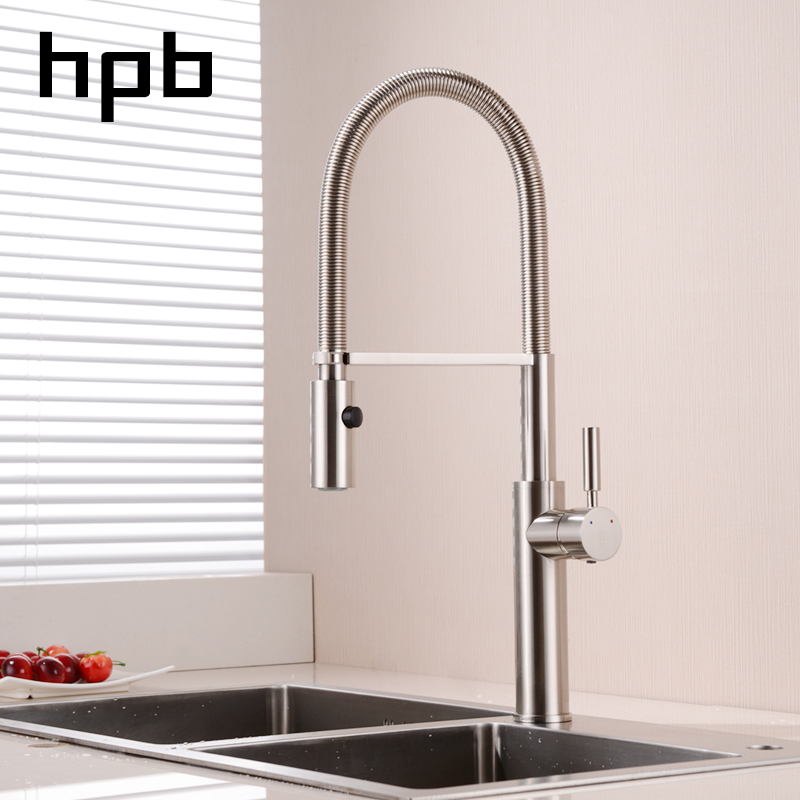 HPB Brass Brushed Nickel Pull Down Kitchen Faucet Mixer Tap for Sink Single Handle Hot And Cold Water 360 Degree Rotation HP4105 newly arrived pull out kitchen faucet brushed nickel sink mixer tap 360 degree rotation torneira cozinha mixer taps xt 40