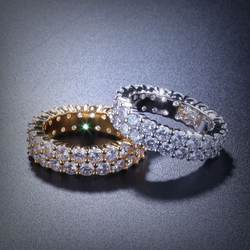 Sofeeling золото серебро цвет покрытием кольцо микро проложили 2 ряда цепи циркон хип хоп палец для мужчин женщин