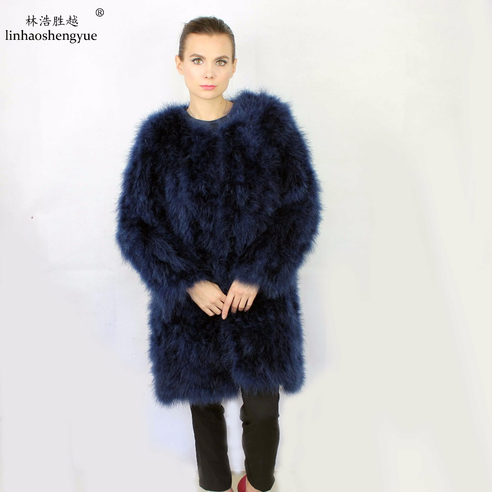 Linhaoshengyue 2014 Long 80cm long design outerwear handmade ostrich wool genuine leather turkey long outerwear The