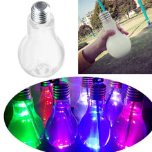 400ml/500ml LED Glowing Bulb Water Bottle Brief Cute Milk Juice Light Bulbs Leak-proof silver gold plastic bulb(China)