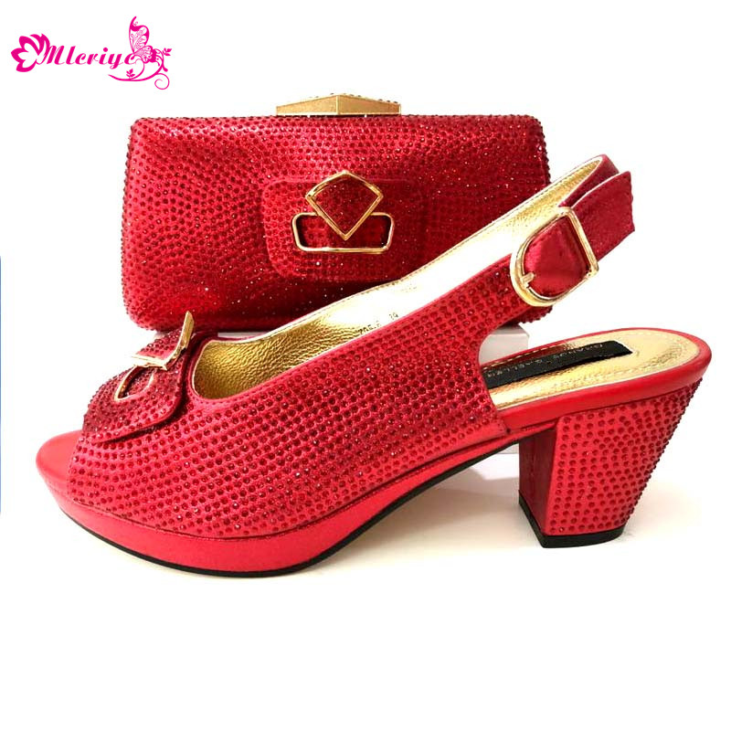 red Italian Shoes with Matching Bags for Wedding Italy Woman Italian Shoes and Bags Set Decorated with Appliques Flower