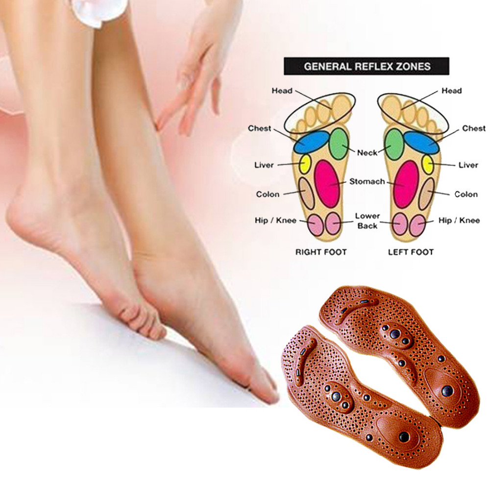 Men/ Women Comfort Pads Foot Care Massager 1 Pair Clean Foot Feet Care Magnetic Therapy Massage Insole Shoe Boot Thenar Pad