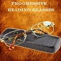 ЗОЛОТО Прогрессивные Мультифокальные Очки Для Чтения Мужские Золотые Увидеть Вблизи Далеко Ультра Литые Разведки Добавить + 1 + 1.5 + 2 До + 4