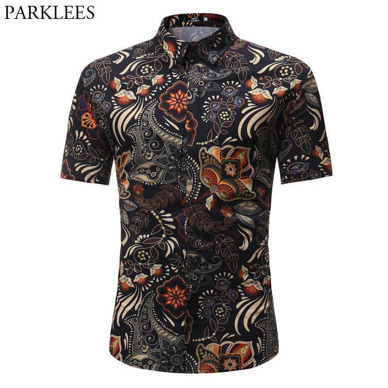 Модные Винтаж платье с цветочным рисунком рубашка Для мужчин 2018 лето Slim Fit короткий рукав гавайская рубашка Для мужчин Повседневное бренд Пляжные рубашки Camisas