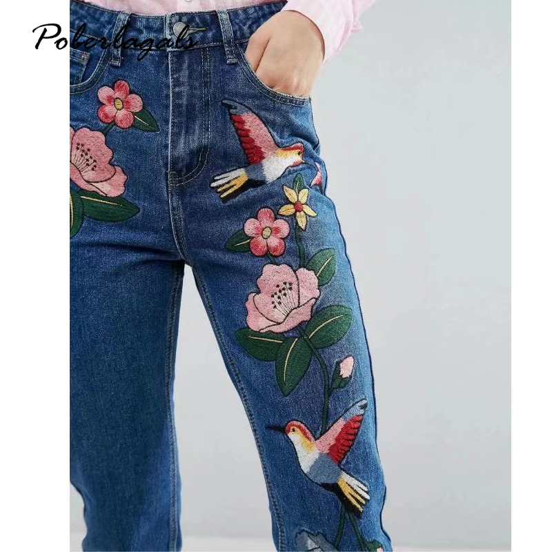 Denim embroidery jeans woman bottoms 2017 Summer Women waist Embroidered Birds female Casual blue jeans pants capris women flower embroidery jeans female blue casual pants capris 2017 spring summer pockets straight jeans women bottom a46
