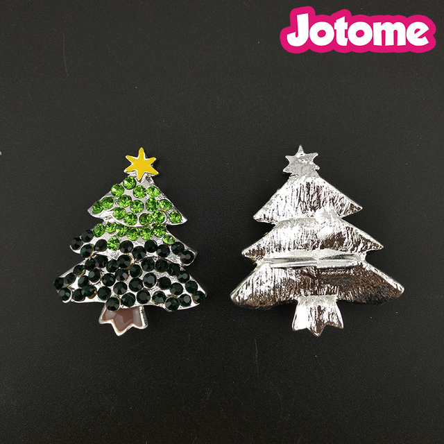 26mm silver plated christmas day decoration christmas tree with star enamel rhinestone button xmas pin brooch - Silver Plated Christmas Tree Decorations