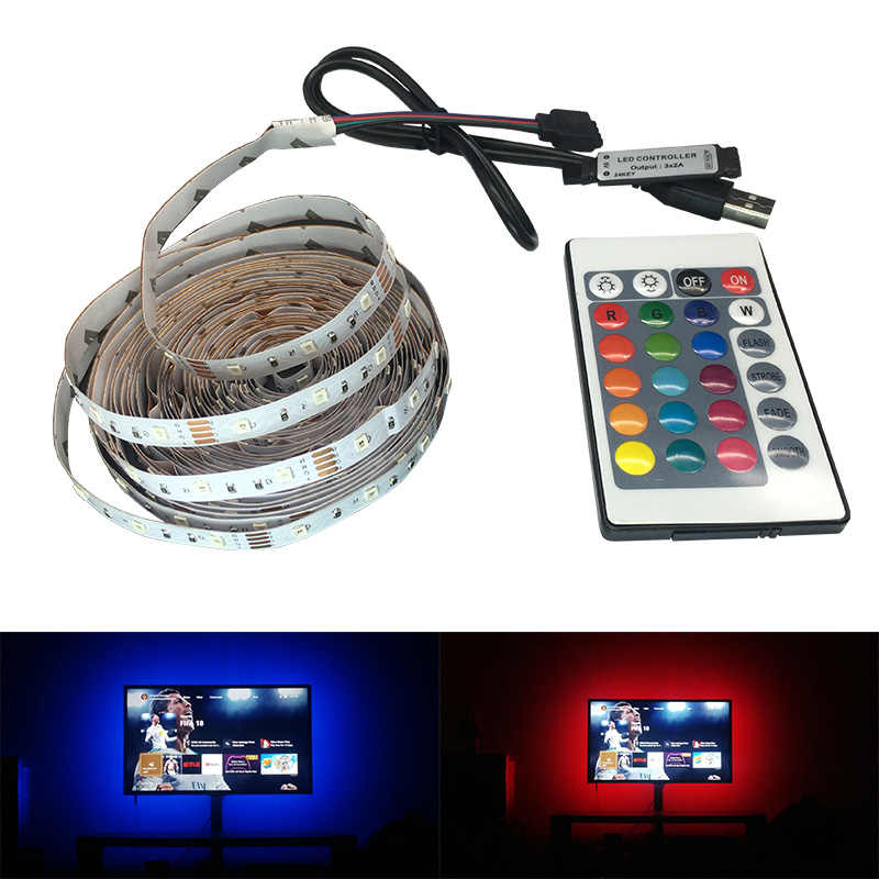 50 CM 1 M 2 M 3 M 4 M 5 M USB LED Strip SMD3528 Light 5 V/ 6 V Adaptor Strip Natal Dekorasi Meja Lampu Tape untuk TV Pencahayaan Latar Belakang