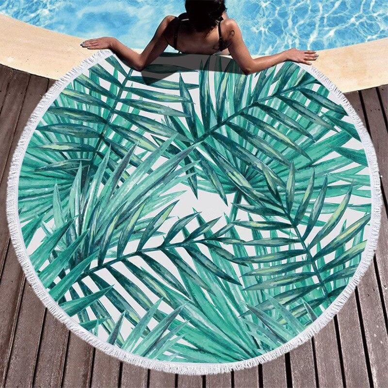 Baby Beach Cushion Round Beach Towel Ultrafine Fiber Fabric Cartoon Printing Green Leaf Pattern Seaside Holiday Blankets