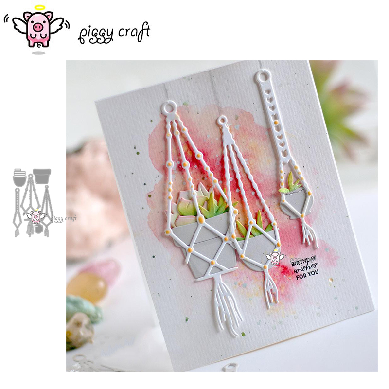 Piggy Craft Metal Cutting Dies Cut Die Mold Plant Hanging Potted Scrapbook Paper Craft Knife Mould Blade Punch Stencils Dies