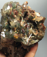680G NATURAL Phantom 'Green Red Ghost' Lemuria Seed QUARTZ Crystal CLUSTER crystal glass