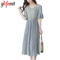 Gkfnmt New 2017 Summer Fashion Striped V Neck Elegant Ladies Chiffon Pleated Dress Women Casual Long