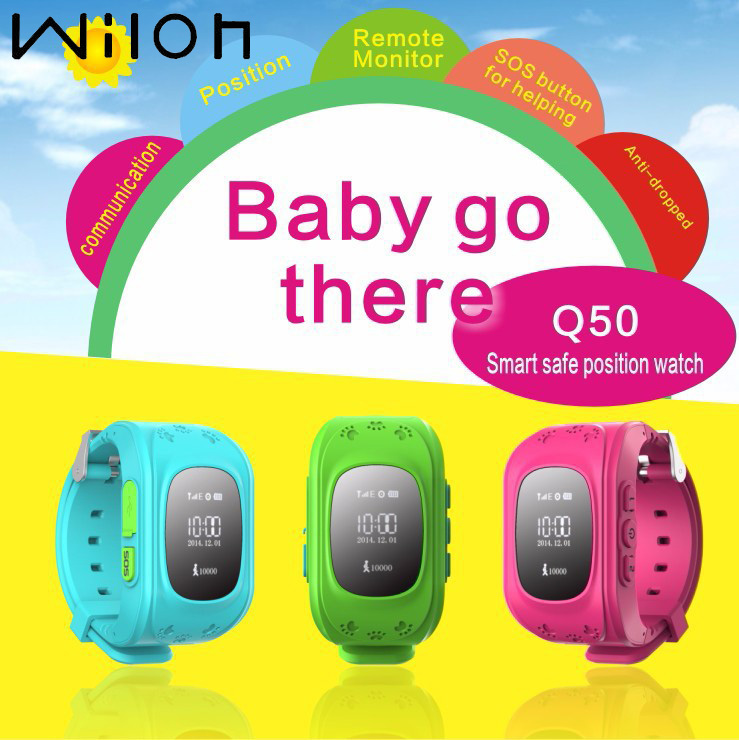 GPS Tracker Watch per bambini SOS Emergency Anti perso braccialetto Wristband Q50 orologio intelligente indossabile dispositivi OLED ghiaione per bambini