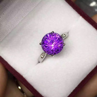 High Quality Hot Fireworks Process Amethyst Ring Engagement Wedding Ring Pure Solid 925 Sterling Solid Silver