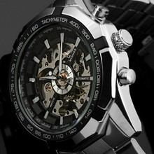 2019 New Watch Men Skeleton Automatic Mechanical Silver Vintage Mens Top Brand Luxury Wristwatch Man