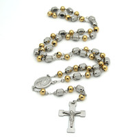 2017 Hot Men S Rosary Pendant Necklace Cross Necklace Charms Gold Titanium Steel Ball Chain Beckham