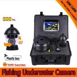 360 stopni panoramowanie podwodny aparat wędkarski zestaw z głębokości 50 metrów i 7 Cal Monitor LCD z mikro-DVR i twardych tworzyw sztucznych przypadku