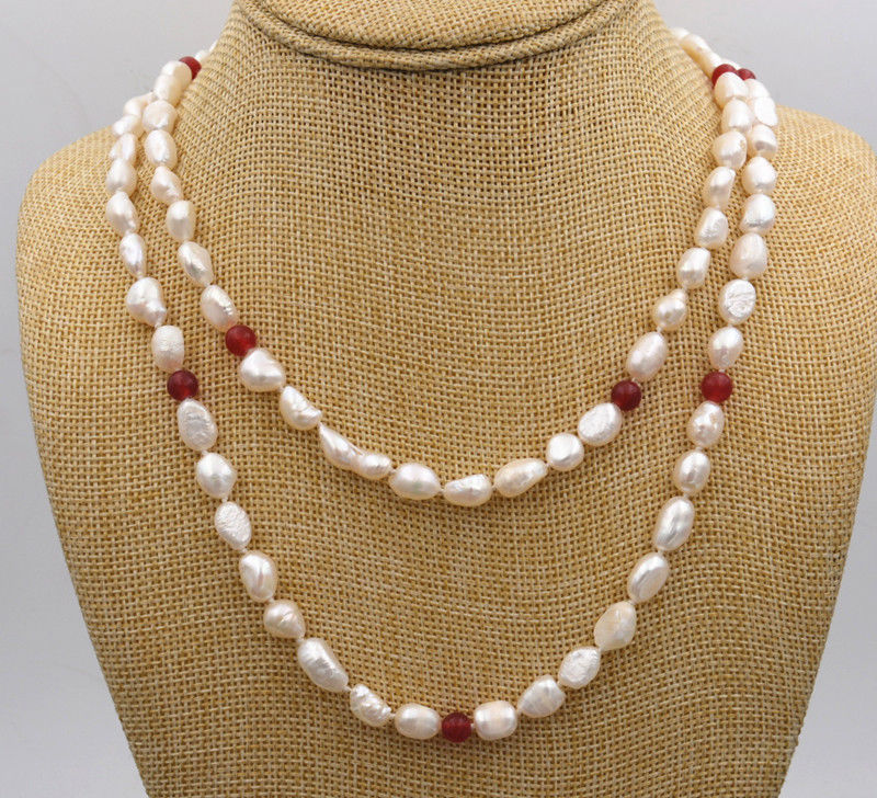 """AAA Natural 3-Strand 7-8MM AAA White Pearl Necklaces 16/""""17/""""18/"""""""