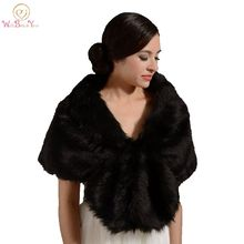 Walk Beside You Winter Black Bolero Faux Fur Warm Wedding Jacket with Collar Shawl Bridal Faux Fur Wrap Stock Wedding Accessores