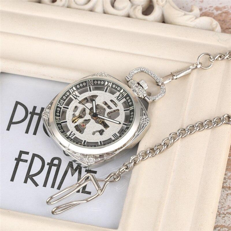 Relógio de Bolso Mecânico para o Homem Relógios de Bolso Presente de Bolso Oco para Fora Mão-corda Requintado Quadrado Numeral Romano Relógio