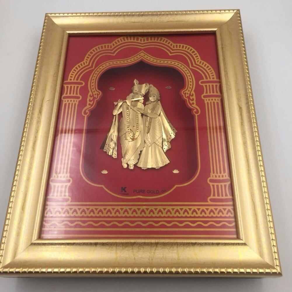 Home Design 3d Gold: 3D Gold Foil Painting Gold Frame India Design Wall Art For