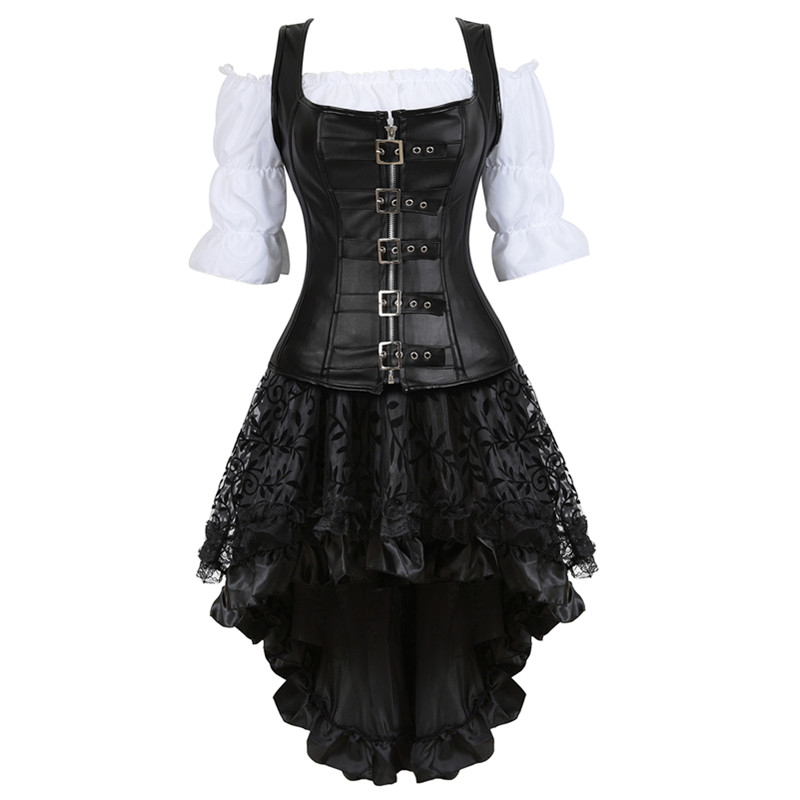 Three-piece Steampunk   Corset   Dress Faux Leather Strap   Bustiers     Corset   with Skirt Gothic Pirate Costume Burlesque Skirt Plus Size