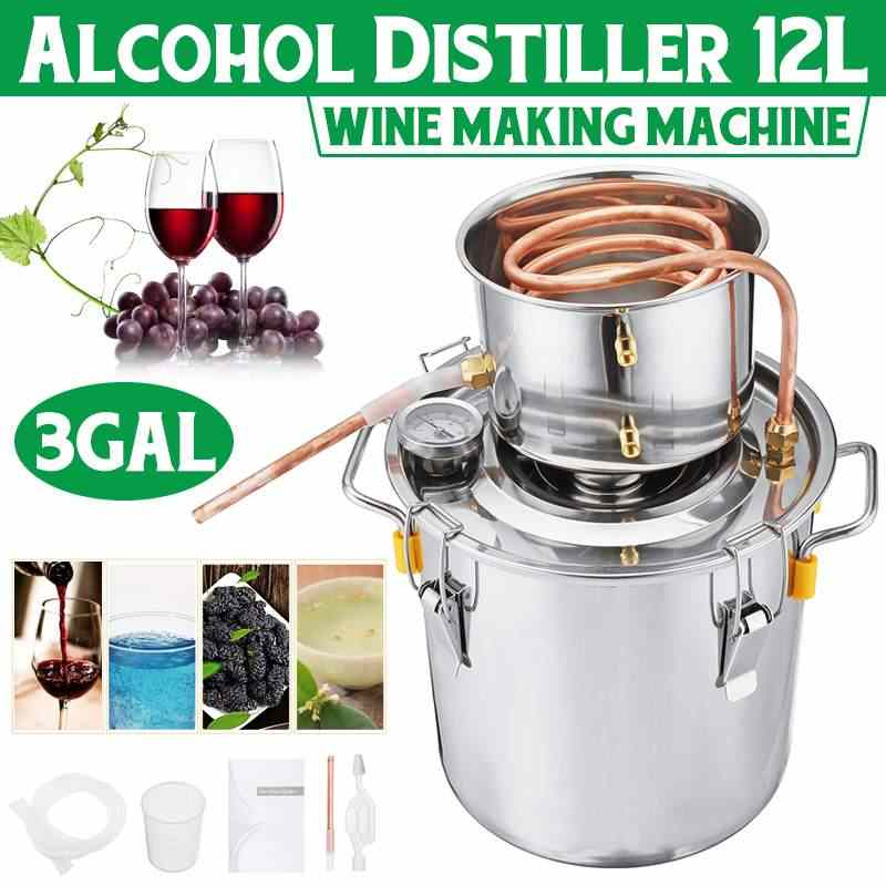 3GAL/12L Distiller Moonshine Alcohol Distiller Stainless Copper DIY Home Water Wine Essential Oil Brewing Kit