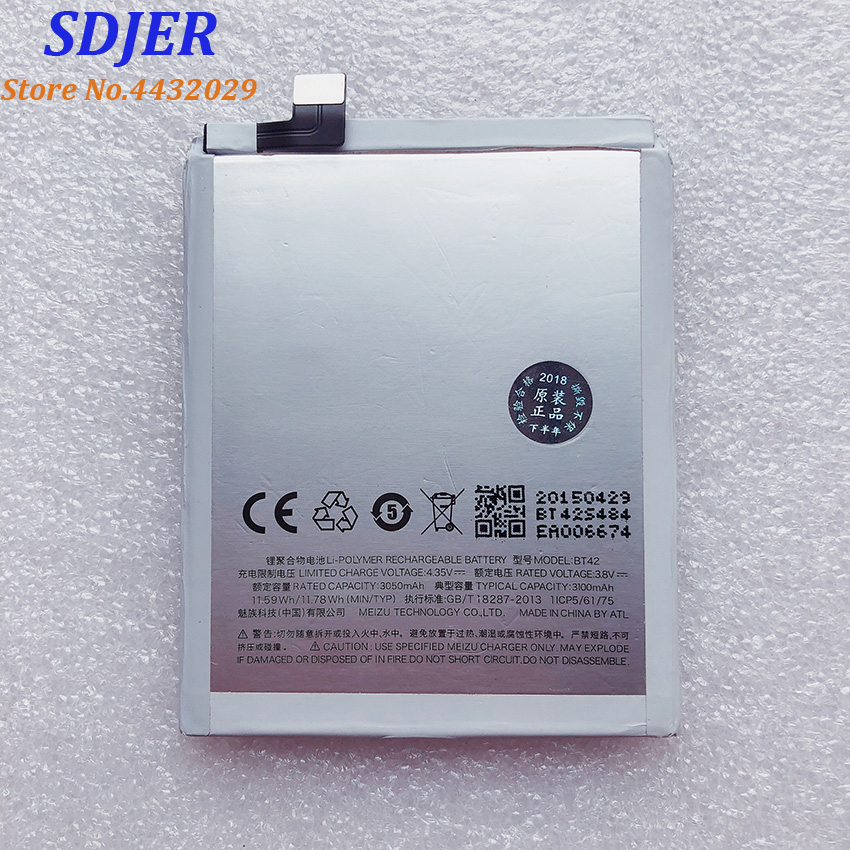 100% Original Backup 3100mah Battery BT42 For Meizu M1 Note Smart Mobile Phone++Tracking Number + In Stock