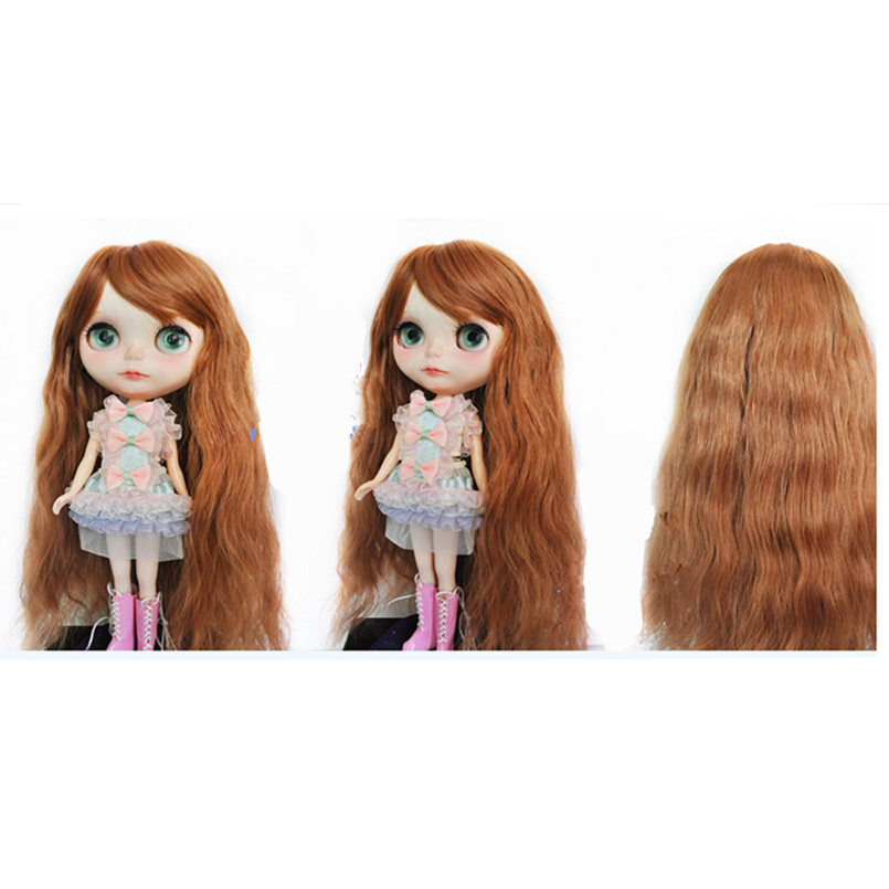 BEIOUFENG BJD Wig Long Curly Hair Accessories for Dolls,New Style BJD Doll Wigs High-temperature Wire Wavy Hair for Dolls new 1 3 1 4 1 6 bjd wig curly short hair curly fringe doll diy high temperature wire for bjd sd dollfie