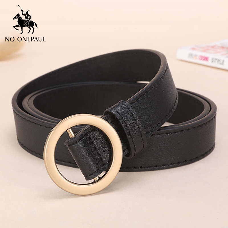NO.ONEPAUL Golden Round Hole Pin Buckle Slim Belt Luxury Elegant Ladies Leather Belt Wild Simple Fashion Jeans Free Shipping