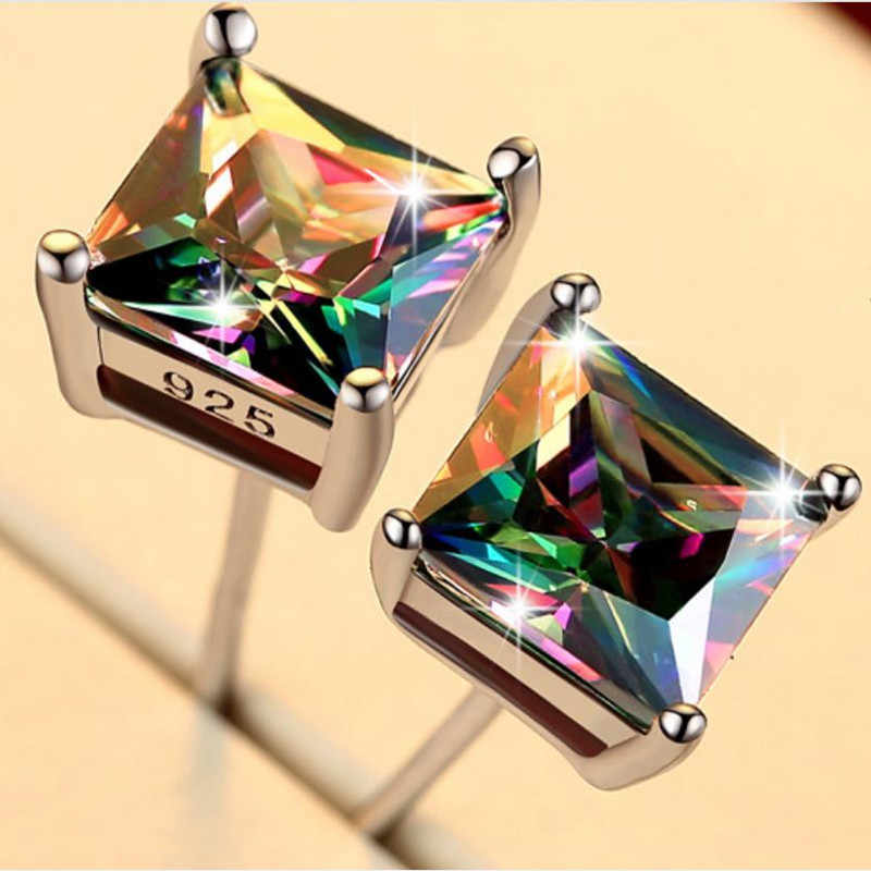 Everoyal Trendy Women Silver 925 Earrings For Men Jewelry Vintage Crystal Colorful Square Earrings Male Boy Party Accessories