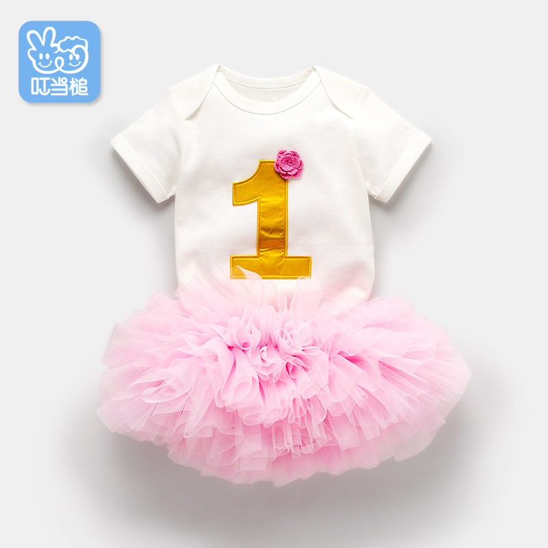 Dinstry 2018 Summer Newborn baby girl Princess Birthday suit 1Y-2Y Romper & skirtDinstry 2018 Summer Newborn baby girl Princess Birthday suit 1Y-2Y Romper & skirt