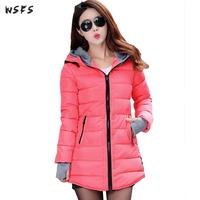 Winter Cotton padded Clothes Blue Pink Green Parkas Hooded Warm Women 2018 Oversize Long Sleeve Gloves Casual Overcoat Outerwear