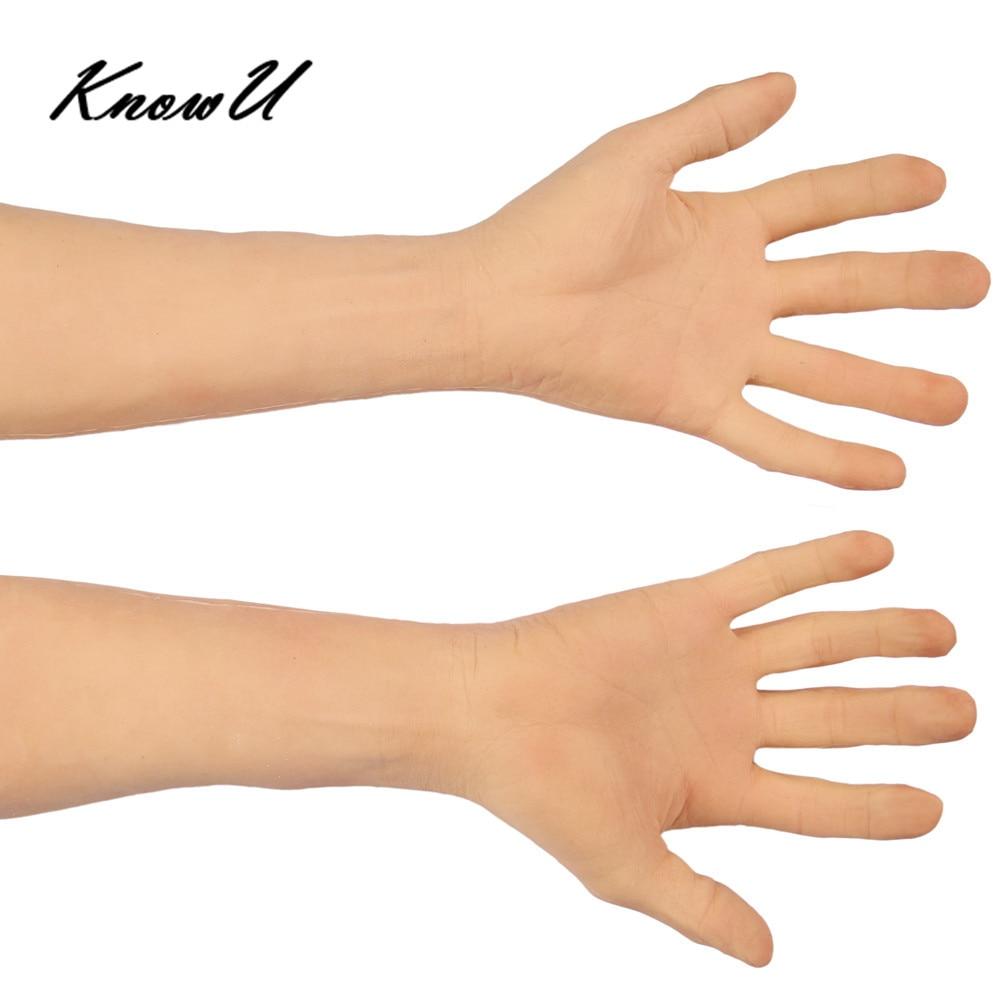 Silicone prothèse main manchon peau hautement simulée bras artificiel couverture cicatrices