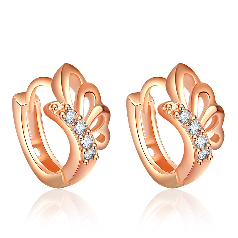 2017 Rose Gold Butterfly Earrings For Women White Crystal From Swarovski Fashion Stud Earrings Party Jewelry Accessories