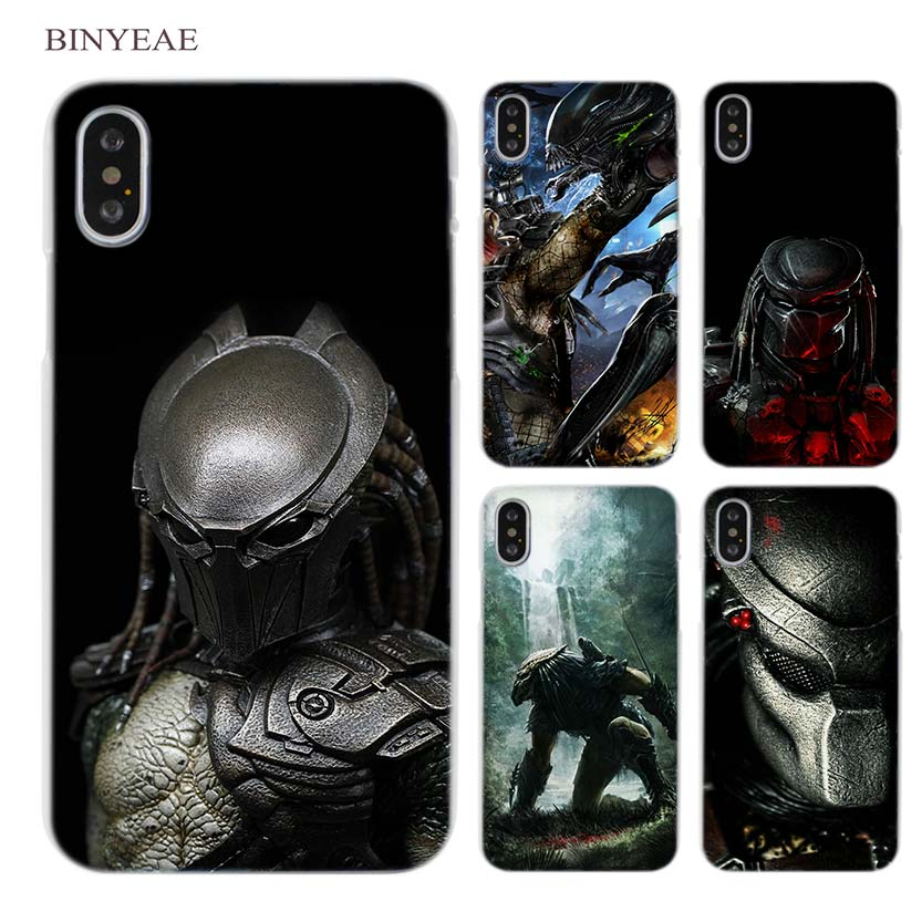 BINYEAE Alien vs Predator Anime Clear Cell Phone Hard Case Cover for iPhone X 6 6s 7 8 Plus 5 5s SE 5c 4 4s