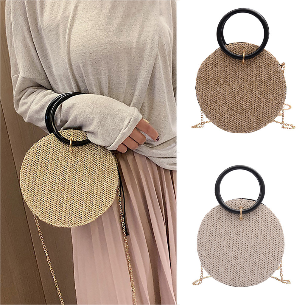 Woven Rattan Bag Round Straw Shoulder Bag Small Beach HandBags Women Summer Hollow Handmade Messenger Crossbody Bags(China)