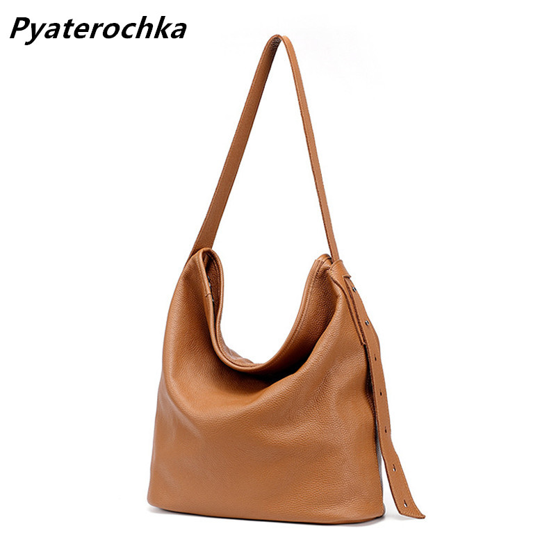 Pyaterochka Large Bucket Handbags Women Real Leather Black Brown Luxury Female Shoulder Crossbody Bag Famous Brand Casual Totes толстовка persona by marina rinaldi толстовка