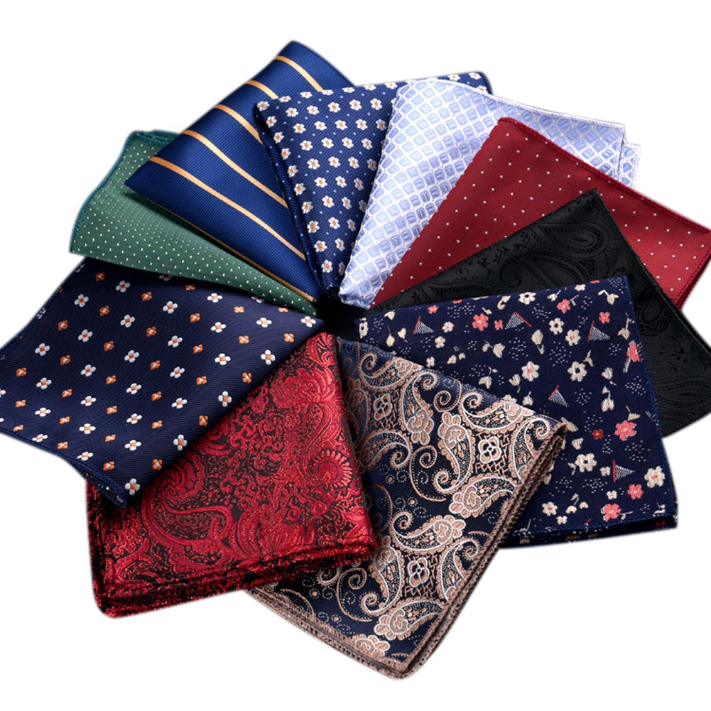 Men's Vintage Handkerchief Polka Dot Striped Floral Printed Hankies Polyester Hanky Business Pocket Square Chest Towel