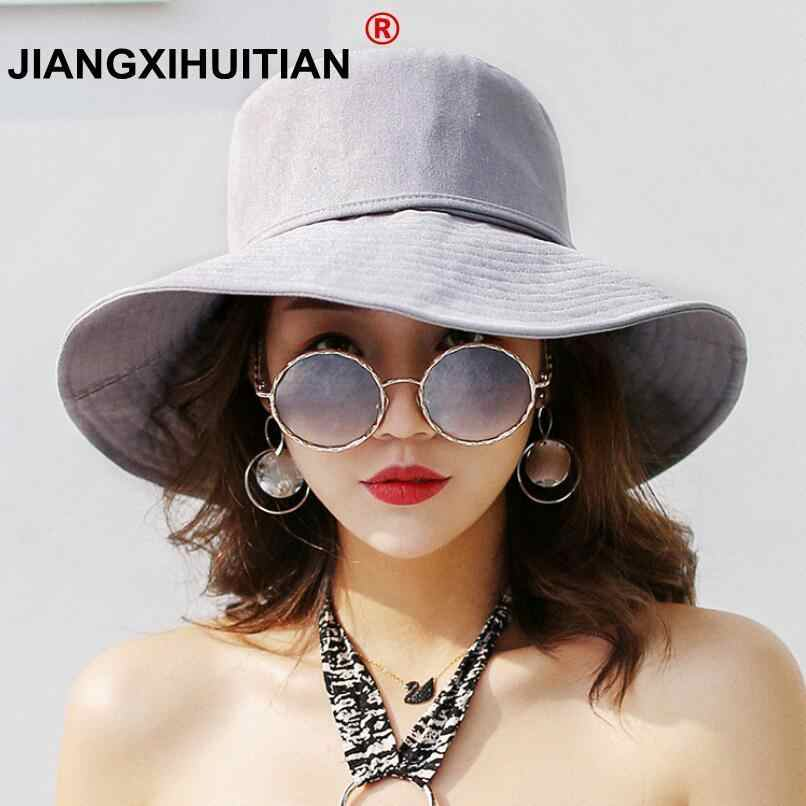 551b36fed69 2018 Spring Summer Sun Hats For Women Large Wide Brim Cotton Bucket Hat  Beach Panama Hat