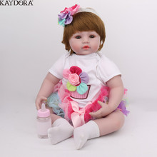 KAYDORA 22Inch 55cm Silicone Reborn Baby Dolls Bebe Alive Adorable Lifelike Toddler Kids Toys Flower Birthday Christmas Gift lifelike baby alive silicone reborn toddler princess girl dolls toys for children girls boys christmas birthday gift dolls toy
