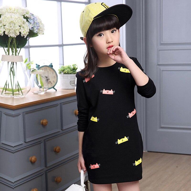 New Children Girls' Clothing Dress Solid Cartoon Summer Girl Dress Cotton 3-14 Y