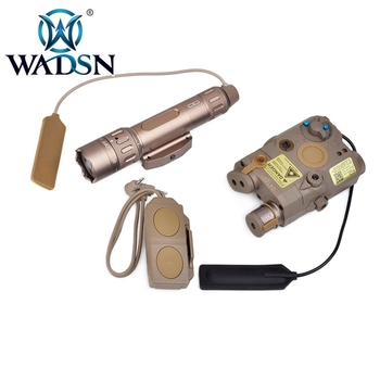 WADSN Airsoft Tactical Light Combo LA-5/PEQ-15 & WMX-200 Flashlight & DOUBLE REMOTE CONTROL Kit WEX418 Hunting Weapon Light