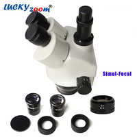 Luckyzoom ยี่ห้อ 7X-90X Simul - Focal Trinocular Zoom Stereo Microscope หัว WF10X/20 SZM2.0X WD30mm กล้องจุลทรรศน์อุปกรณ์เสริม