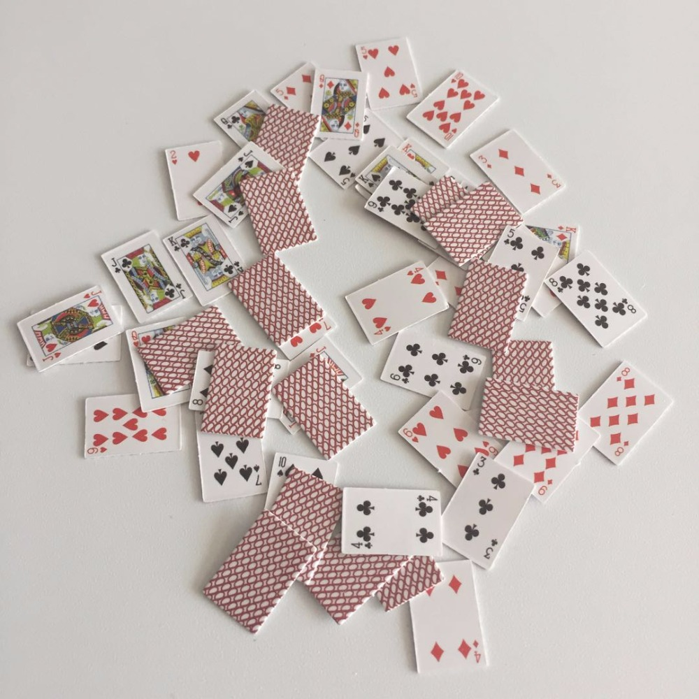 Paper Mini Poker 1:12 Dollhouse Miniature Playing Cards Game Model for Barbie Doll House Accessories