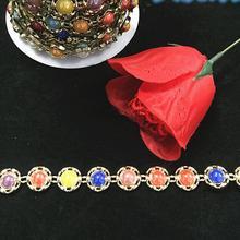 10 ярдов многоцветный ABS жемчуг круглый цветок бисер УФ покрытие цепи отделка для шитья Apperal сумка обувь крышка Украшение воротника
