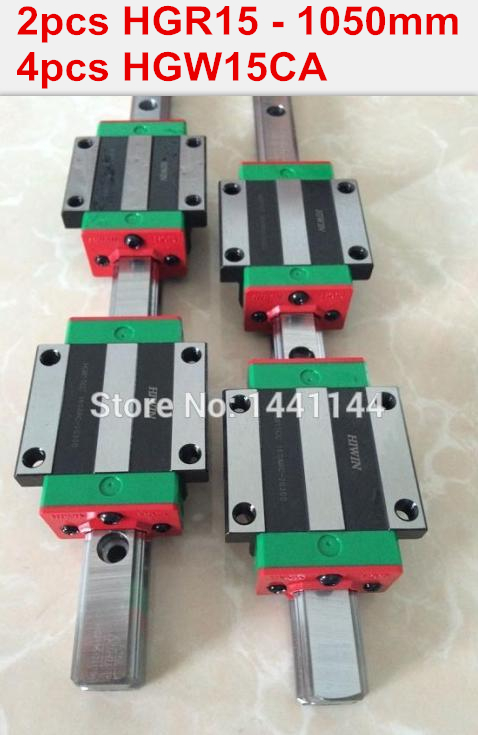2pcs 100% original HIWIN rail HGR15 - 1050mm rail  + 4pcs HGW15CA blocks for cnc router hiwin 100