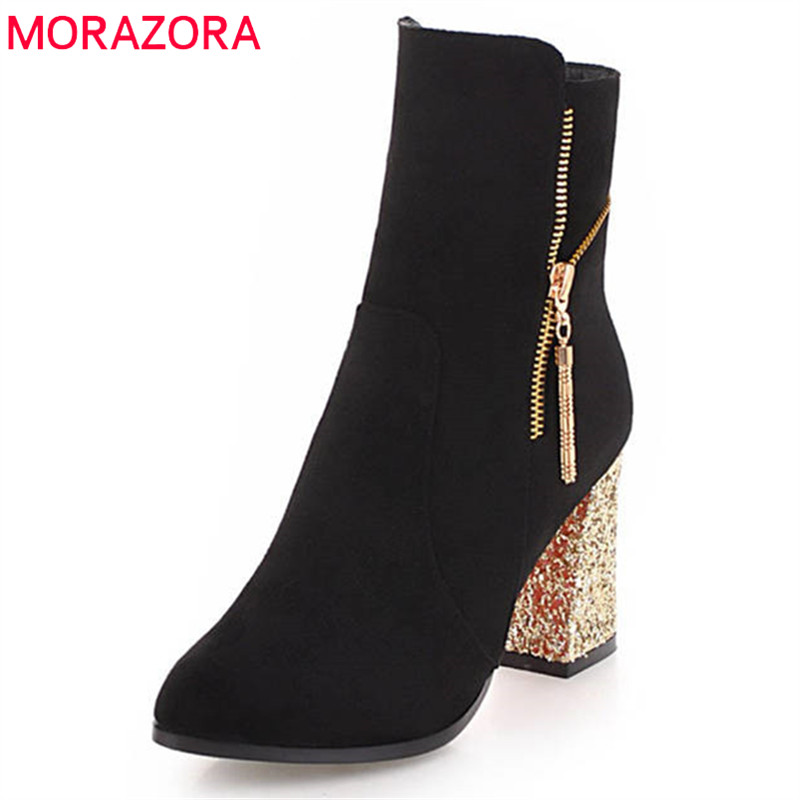 MORAZORA 2020 new arrival flock short plush autumn winter ladies boots fashion high heels shoes woman