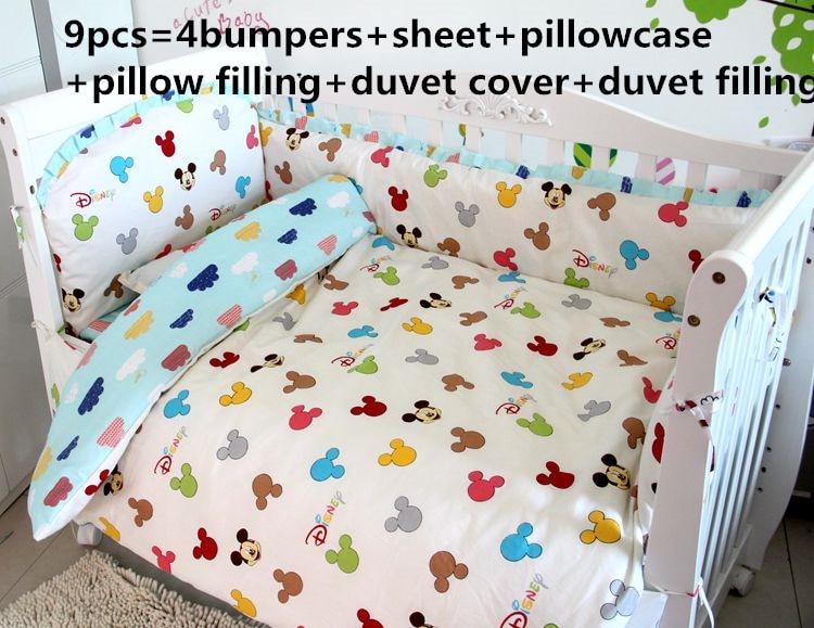 6/7/9PCS Baby Bedding Set Infant Crib Fence Baby Cradle Crib Cot Bedding Set Cunas Toddler Bedding ,120*60/120*70cm